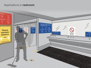 Restroom Social Distance Signage